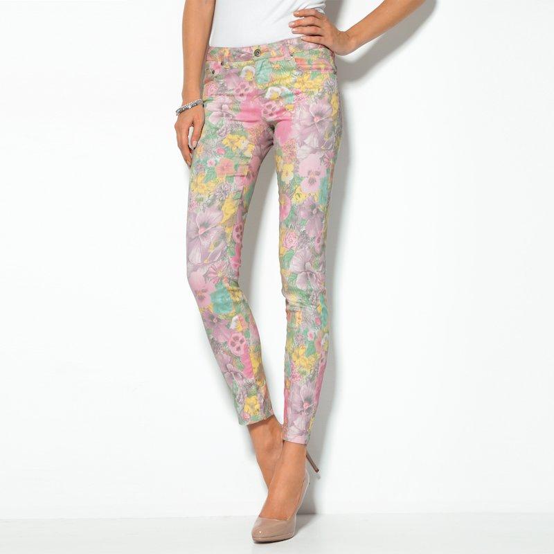 Pantalón largo mujer flores tejido elástico - Rosa
