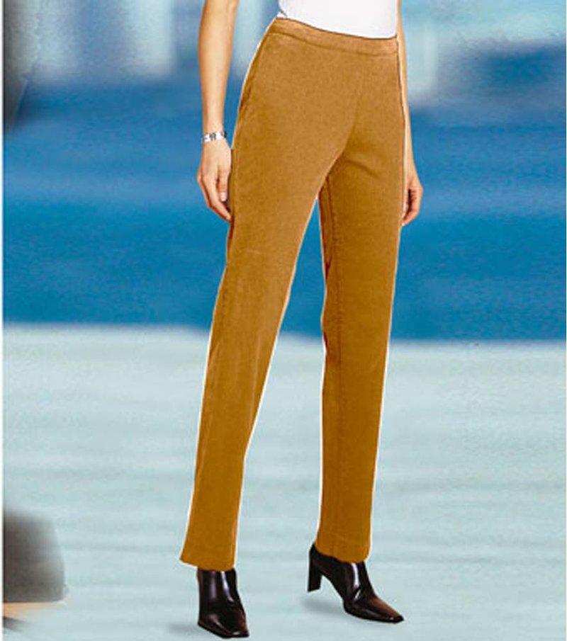 Pantalón largo mujer efecto vientre plano - Beige