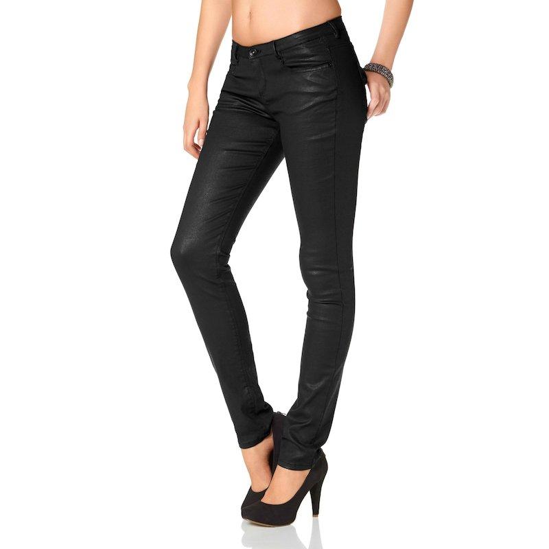 Pantalón slim enlucido mujer - Negro