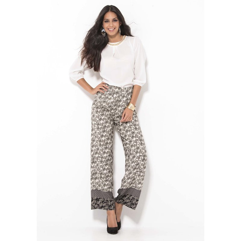 Pantalón largo ancho mujer estampado búlgaro