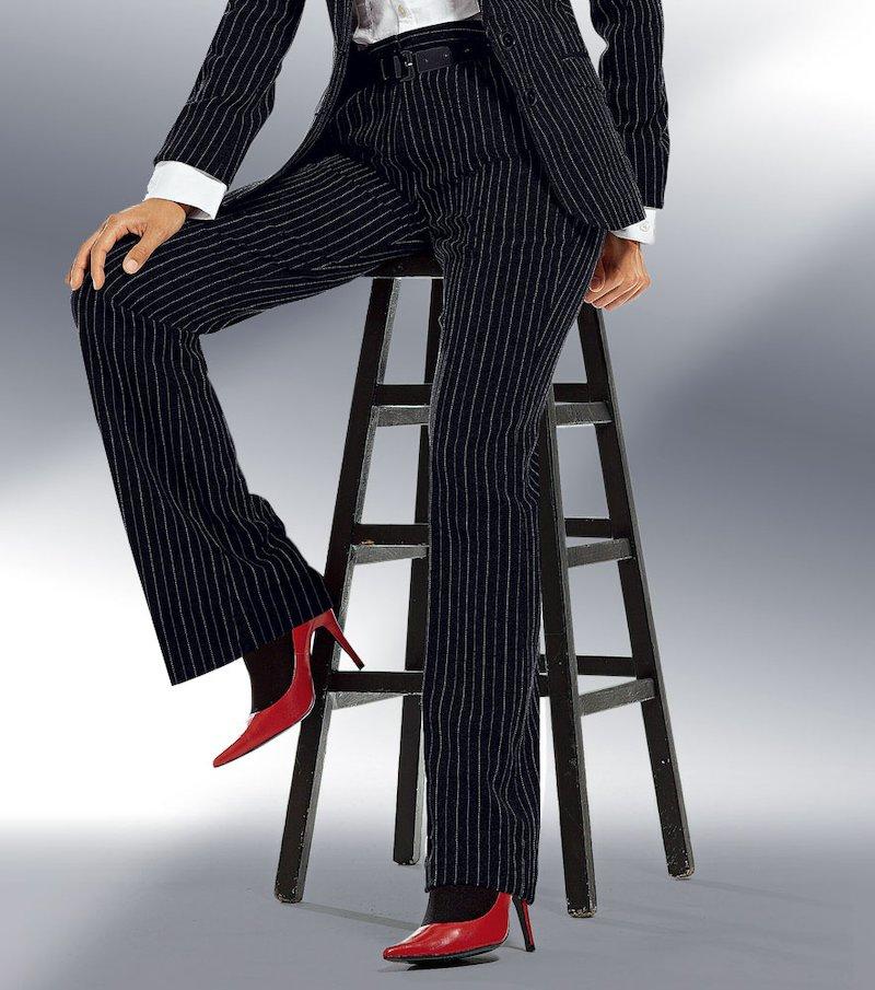 Pantalón largo de vestir mujer corte recto