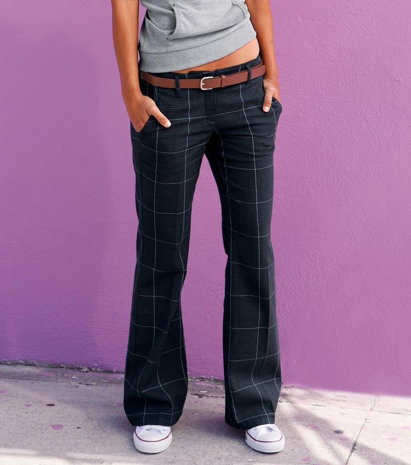 Pantalón largo mujer de tiro bajo - Azul