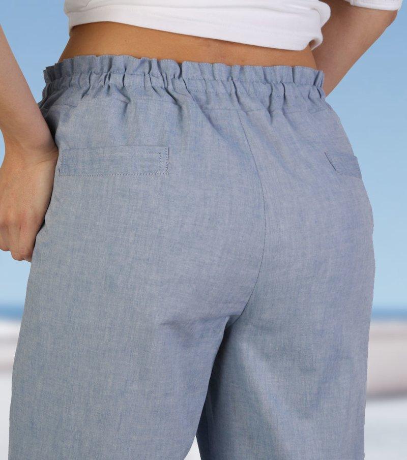 Pantalón largo mujer recto de tiro alto