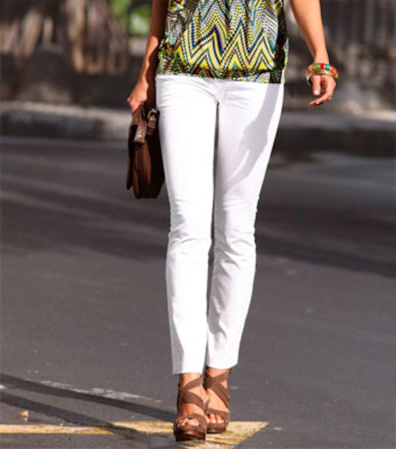 Pantalón largo mujer en tejido satinado elástico - Blanco