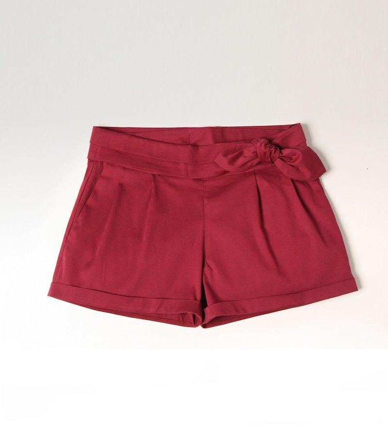 Pantalón short mujer con cinturón
