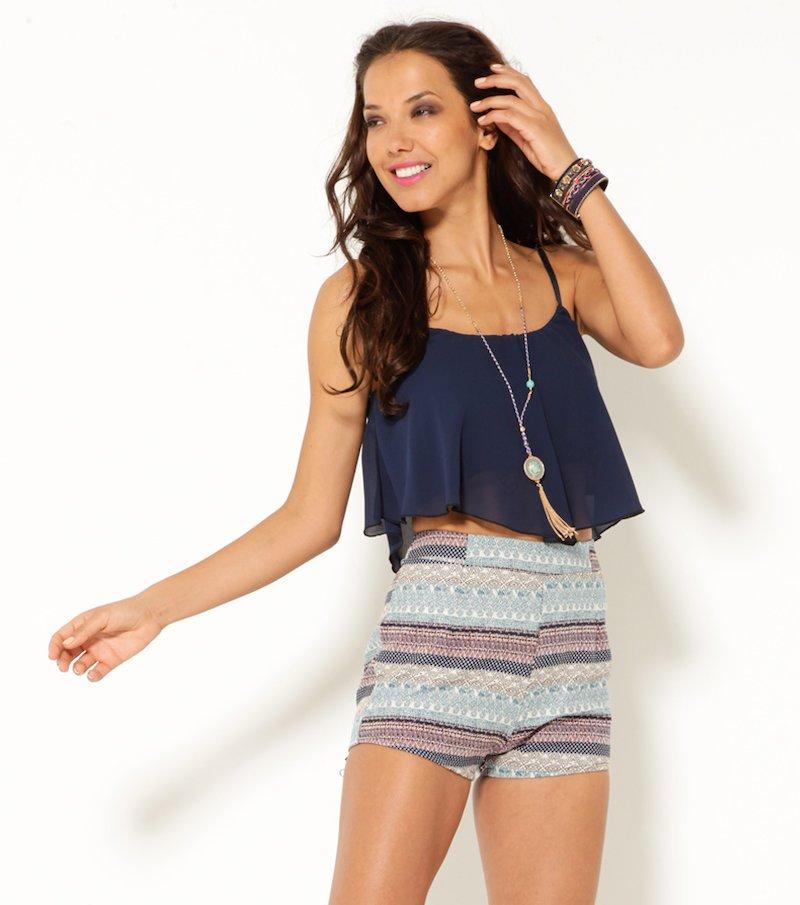 Pantalón short mujer cintura alta étnico