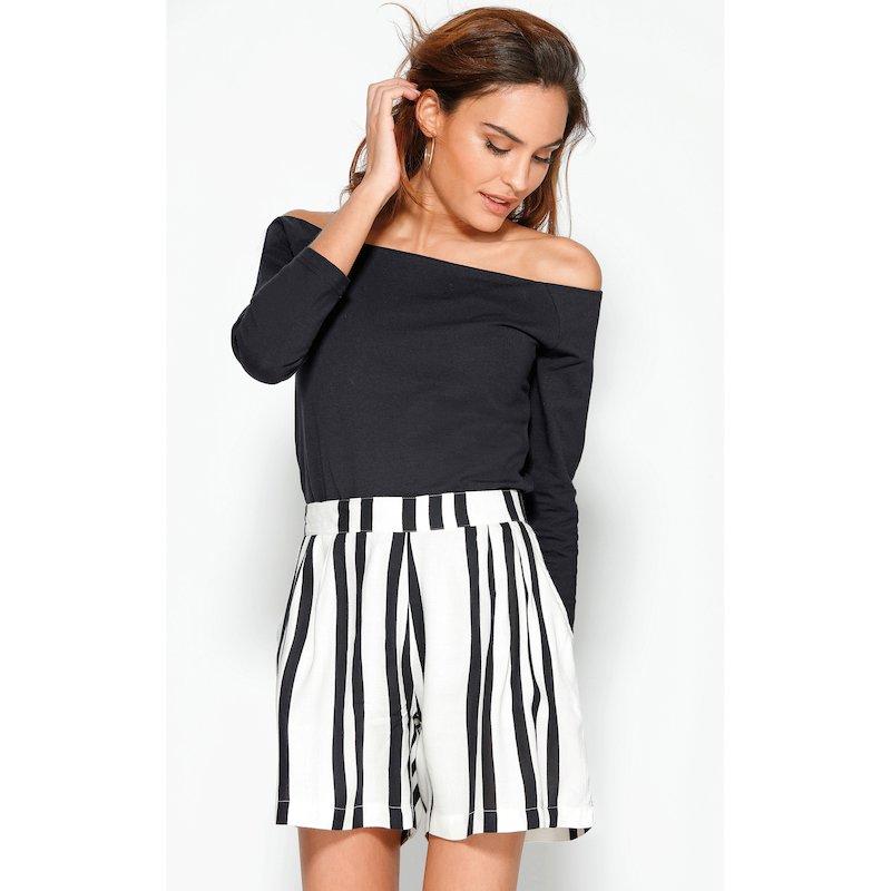 Pantalón corto bermuda mujer estampado rayas
