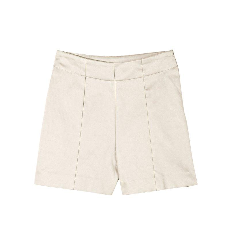 Pantalón short mujer twill elástico satinado - Beige