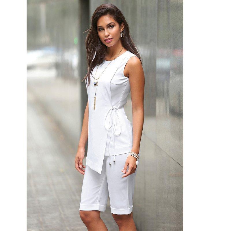 Pantalón bermuda tiro alto mujer con vuelta - Blanco