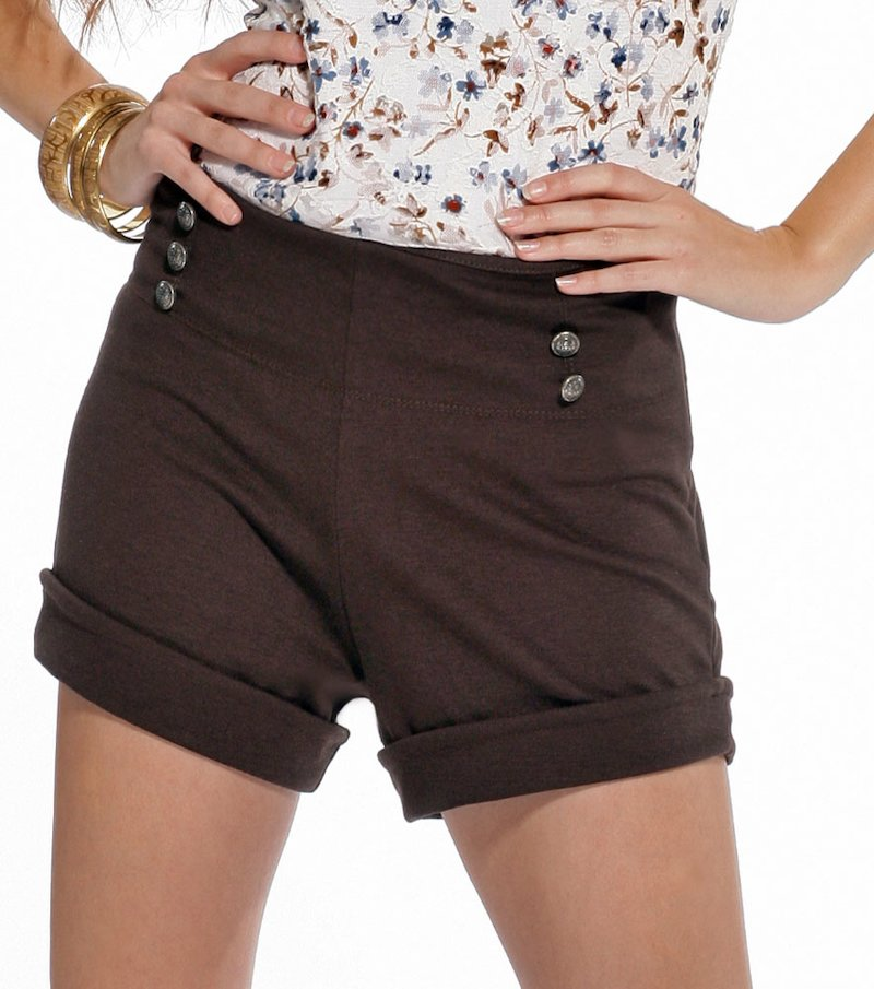 Pantalón short mujer de punto con botones