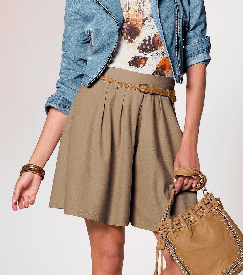 Falda pantalón mujer con vuelo - Beige