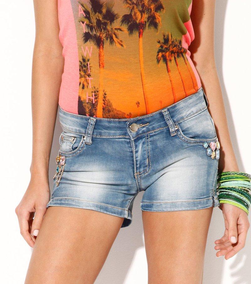 Pantalón corto vaquero jeans mujer con pedrería