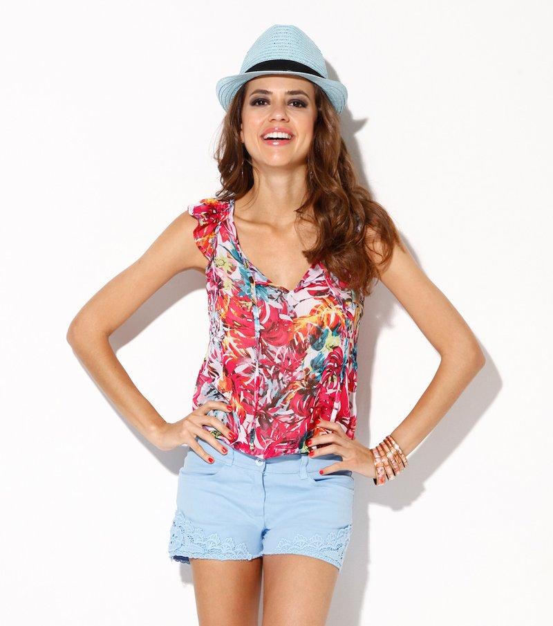 Pantalón short mujer elástico con bordado - Azul