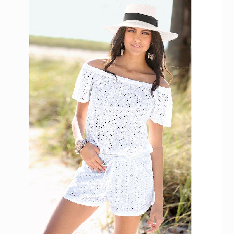 Pantalón short de mujer tejido de bordado suizo calado - Blanco