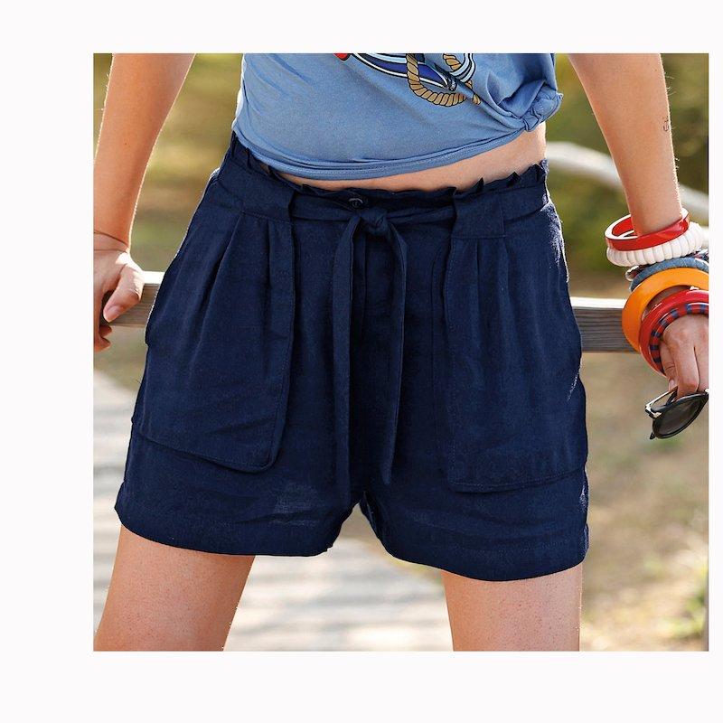 Pantalón corto bermuda mujer con bolsillos - Azul