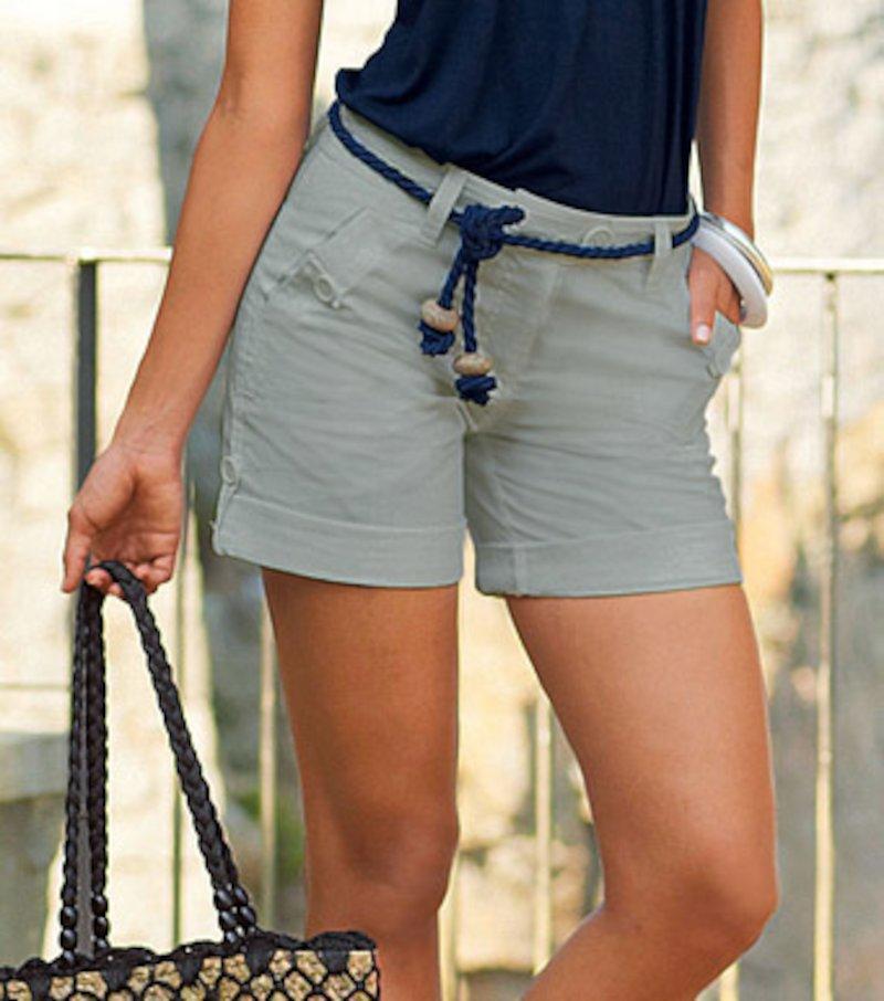 Pantalón bermuda mujer regulable de algodón