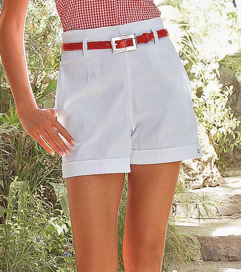 Pantalón short mujer de tiro alto - Blanco