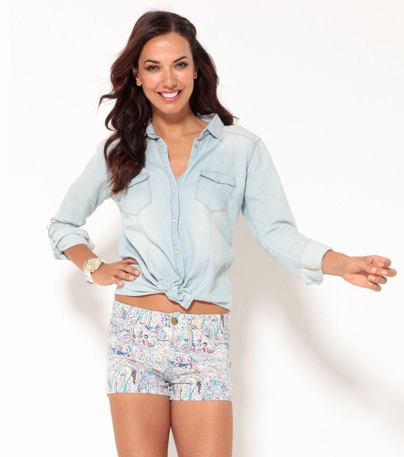 Pantalón short mujer elástico estampado 5 bolsillos