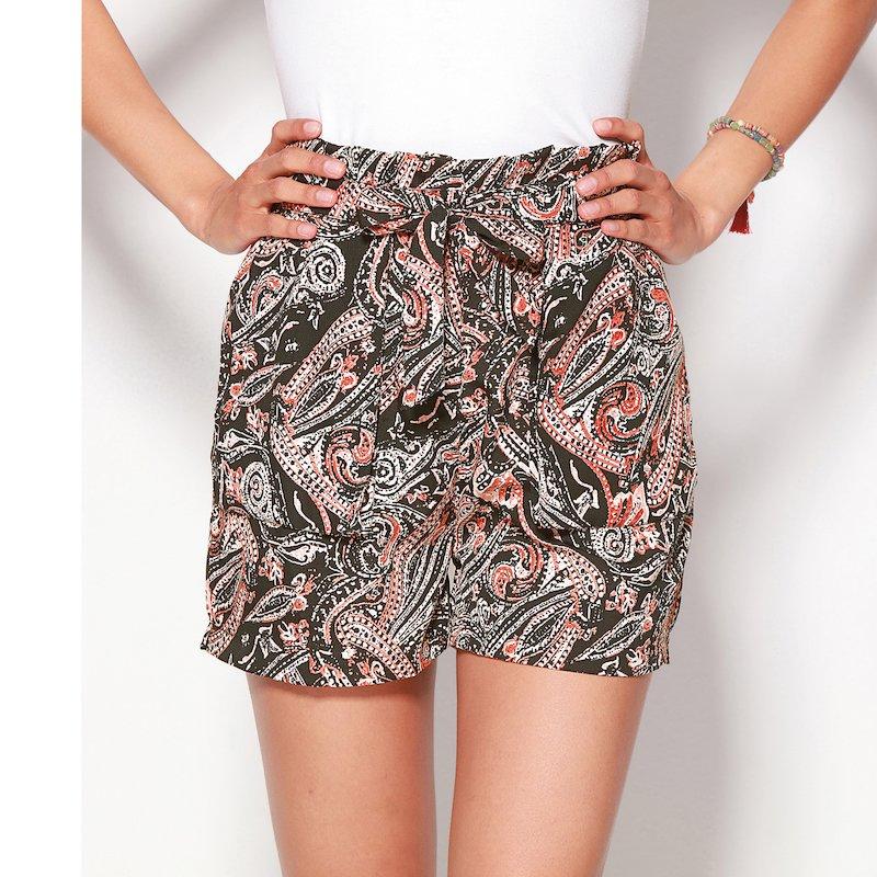 Pantalón short bermuda mujer estampado con bolsillos