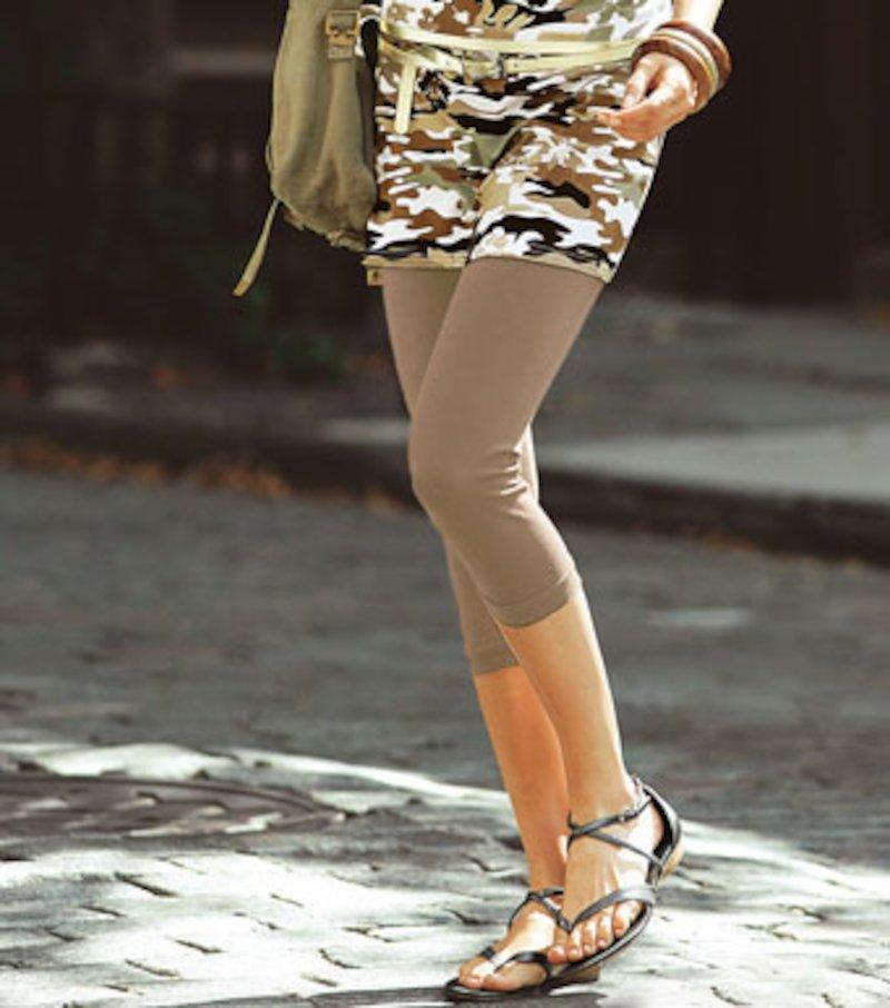 Pantalón legging pitillo mujer de punto capri - Crudo