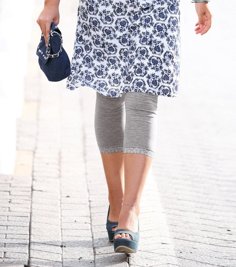 Pantalón legging mujer elástico con puntilla