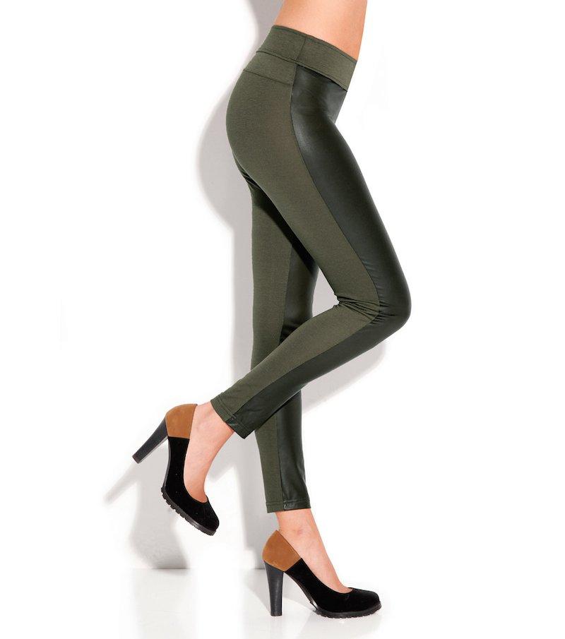 Pantalón legging pitillo mujer símil piel - Verde