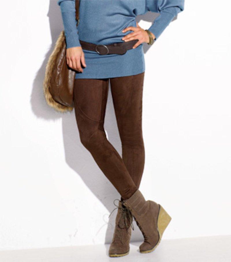 Pantalón legging pitillo mujer antelina elástica - Marrón