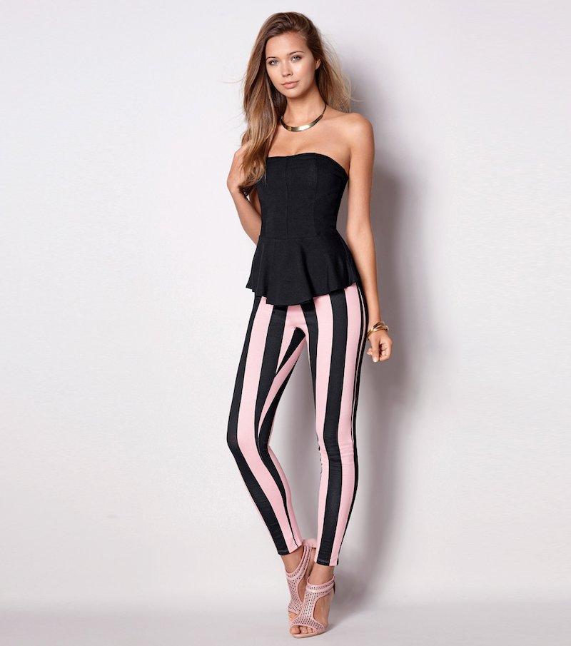 Pantalón pitillo legging mujer rayas punto elástic