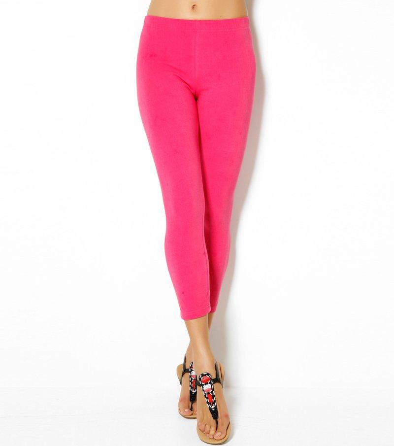 Pantalón legging mujer corte capri de punto elástico liso