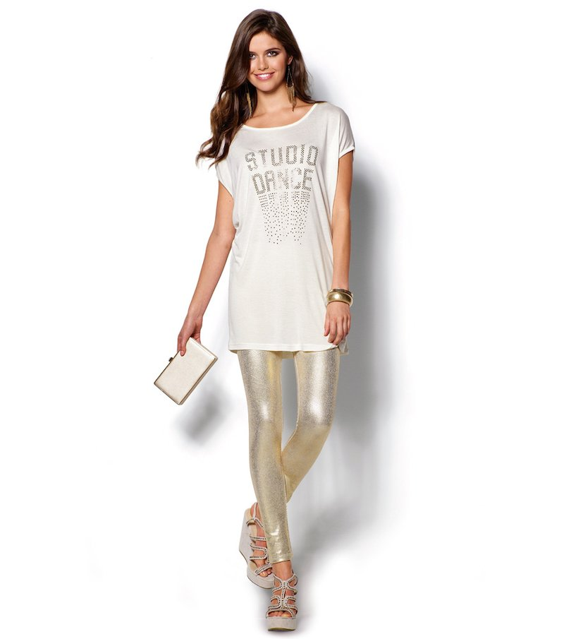 Pantalón fiesta legging mujer metalizado