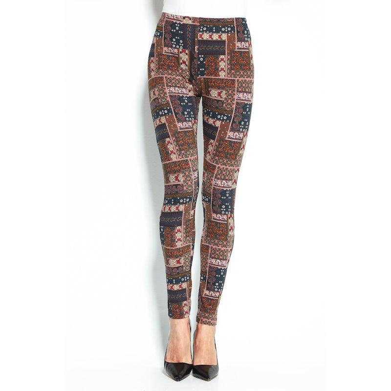 Legging tobillero de mujer con estampado patchwork