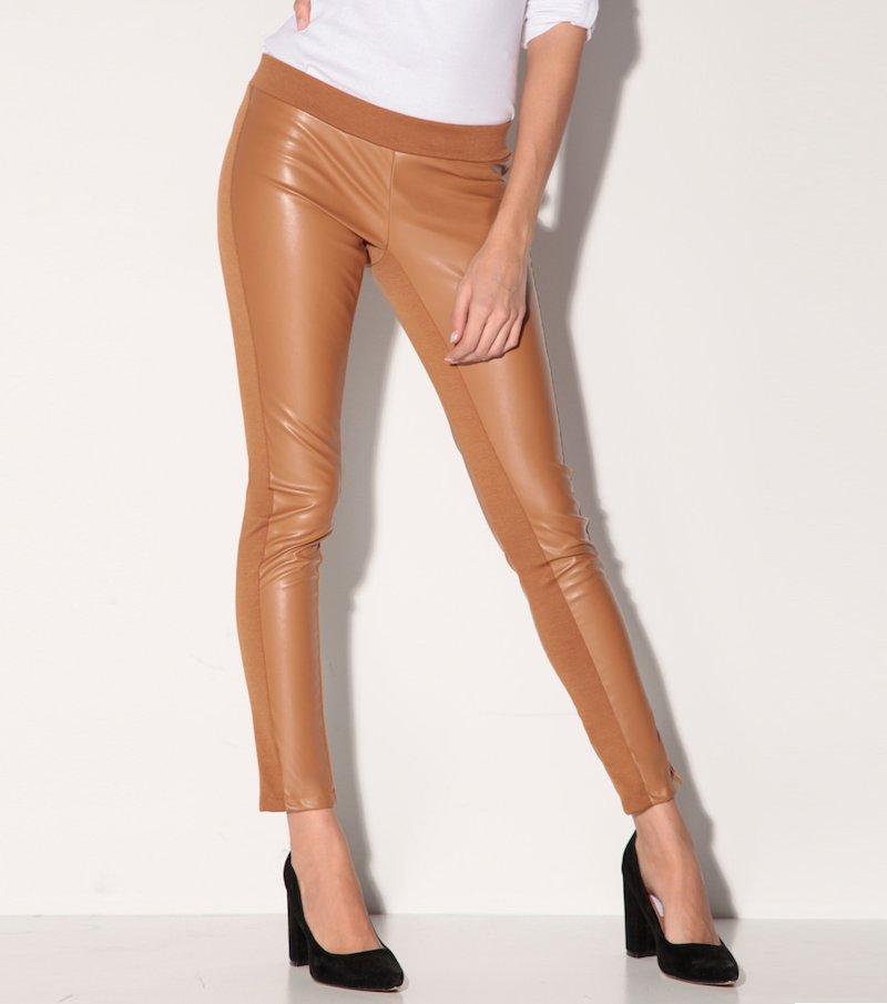 Pantalón largo tregging mujer símil piel