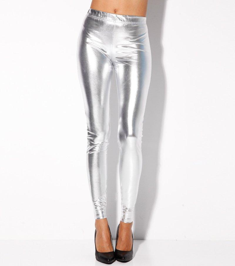 Pantalón largo legging mujer de fiesta metalizado