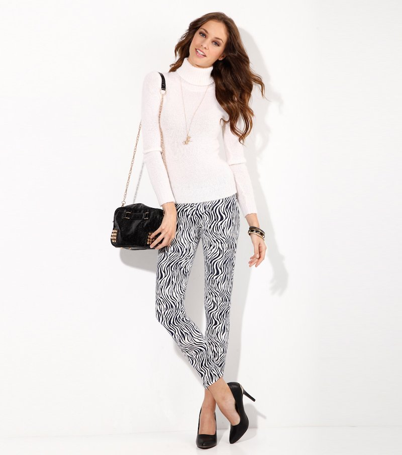 Pantalón largo legging mujer punto elástico cebra