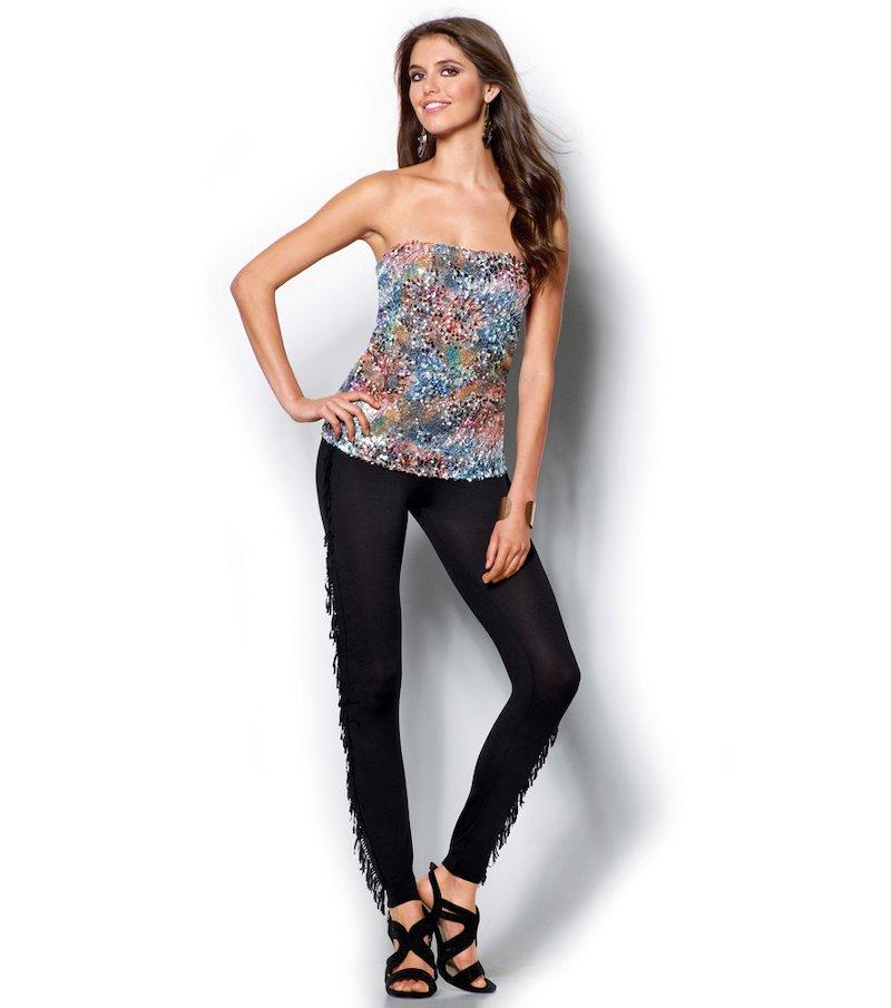 Pantalón legging mujer de punto con flecos