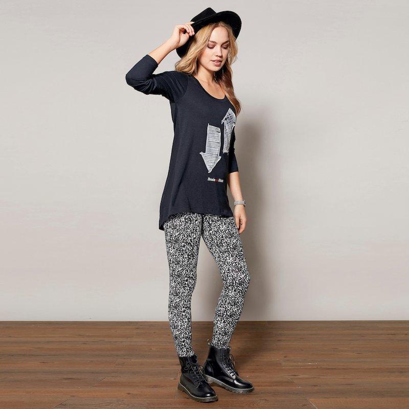 Pantalón legging tobillero punto estampado mujer