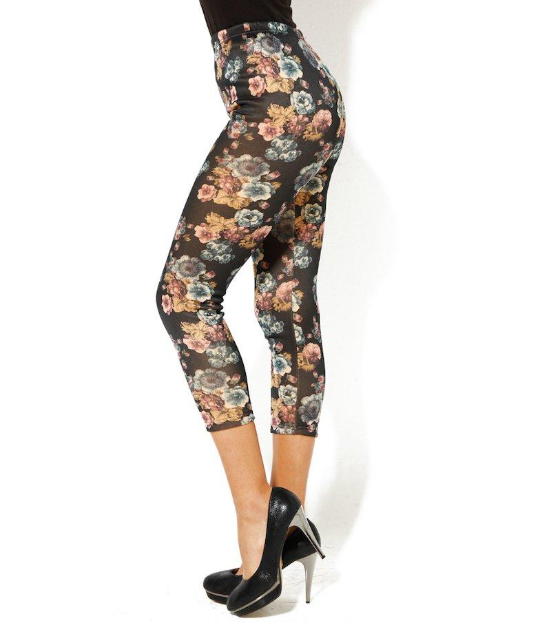 Pantalón legging mujer punto con felpa flores - Negro