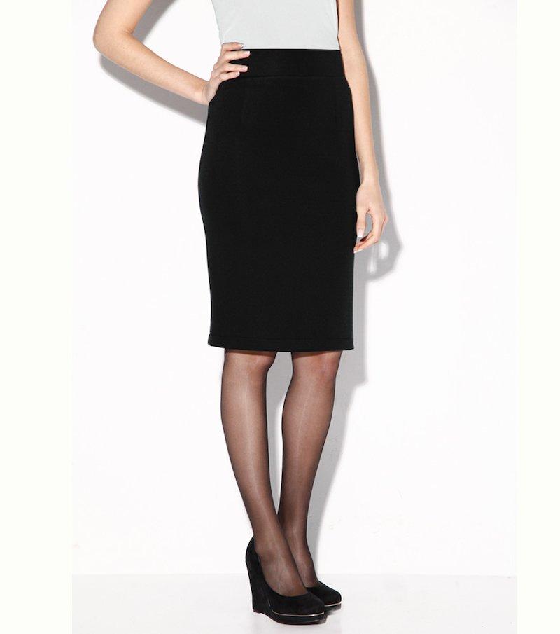 Falda mujer corte clásico en tejido elástico - Negro