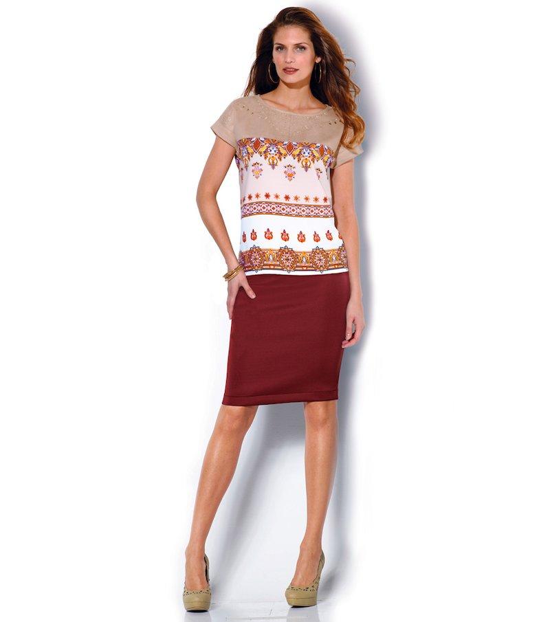 Falda mujer corte clásico en tejido elástico - Rojo