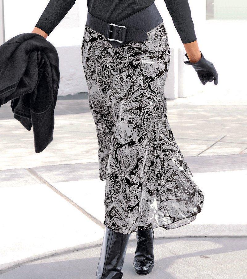 Falda larga mujer con vuelo - Marrón