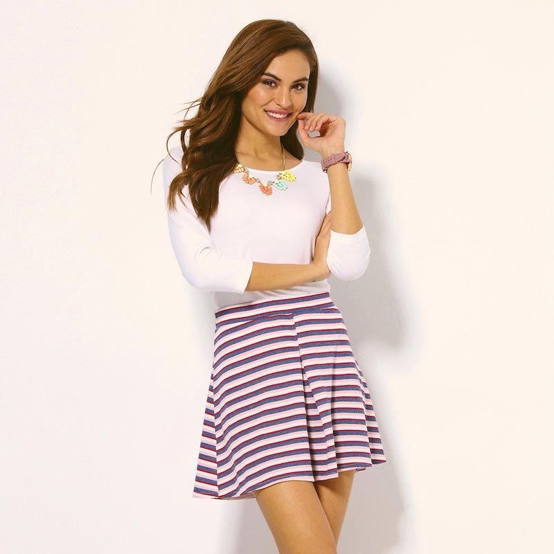 Falda corta rayas felpa de verano
