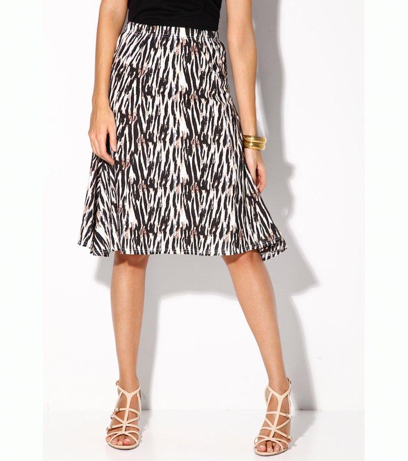 Falda mujer con cintura elástica suave punto liso
