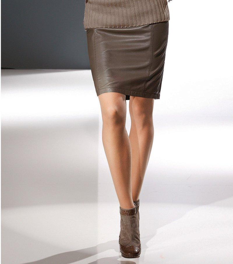 Falda mujer polipiel de cinturilla recta