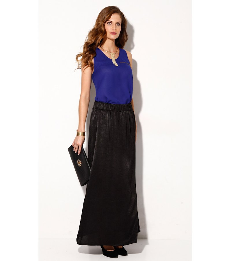 Falda larga mujer satinada negro