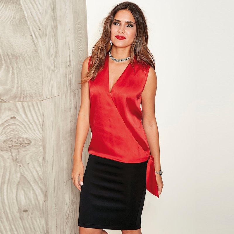 Falda pincel de punto milano con cintura elástica