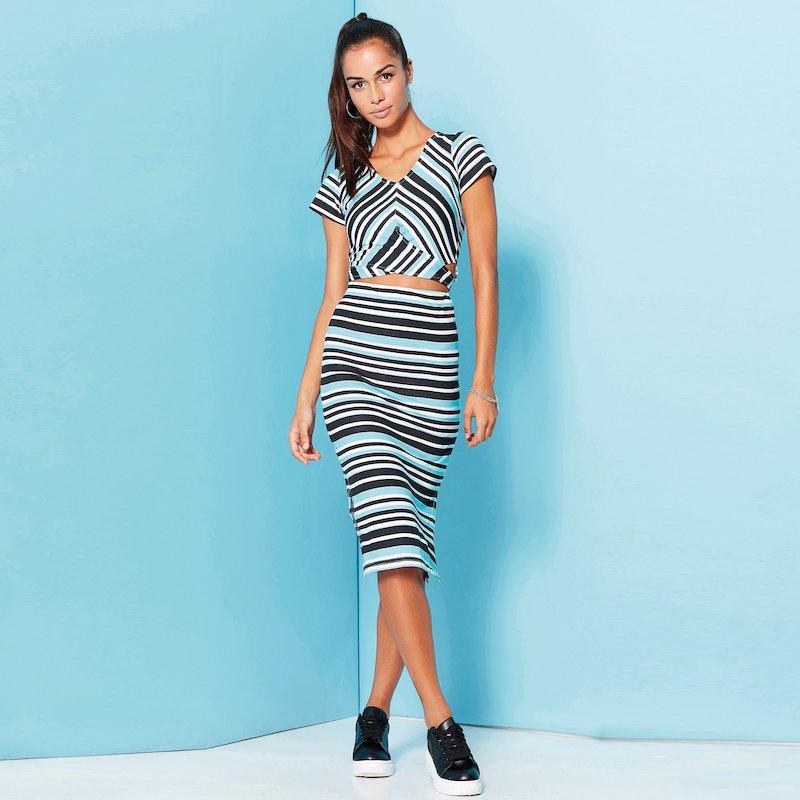 Falda larga rayas tricolores de punto para mujer