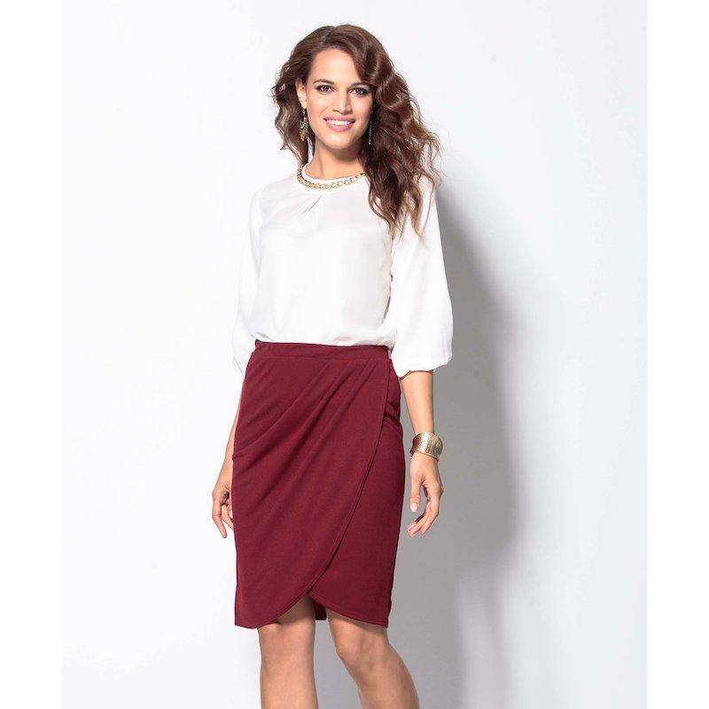 Falda corta pareo cruzada de punto elástico - Rojo
