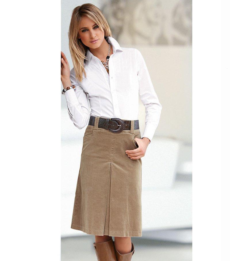 Falda mujer en micropana 100% algodón - Beige