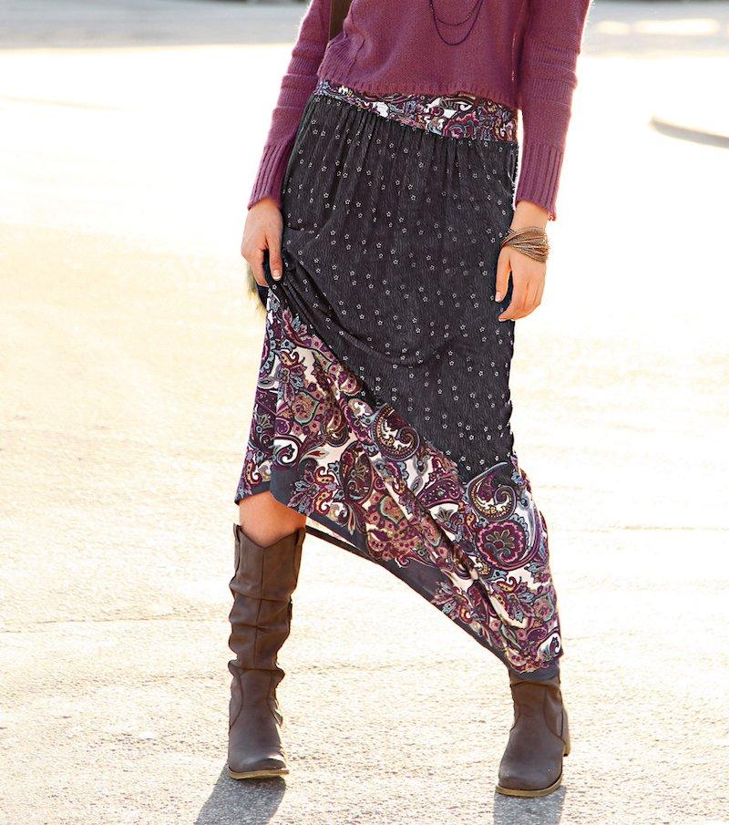 Falda larga mujer estampada 100% viscosa