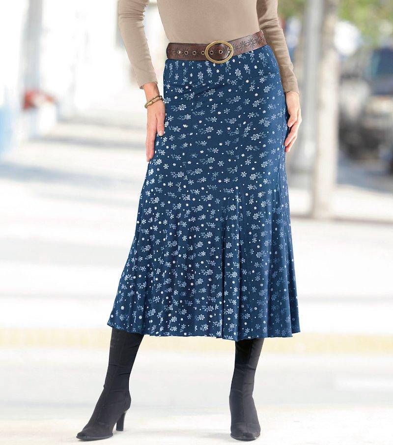 Falda larga mujer con vuelo y cinturilla elástica